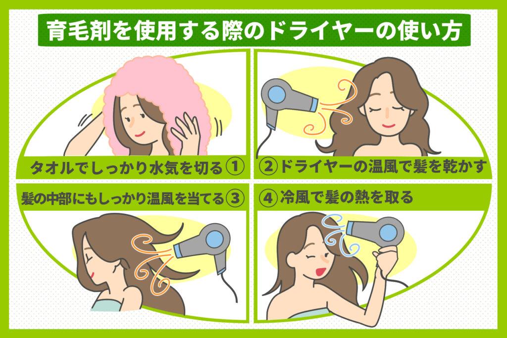 育毛剤を使用するときドライヤーの効果的な使い方